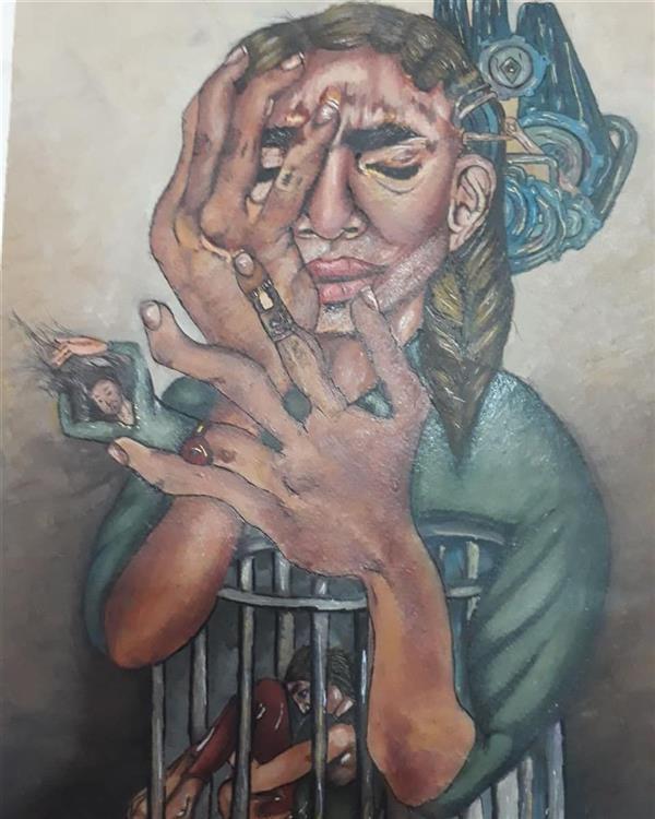 هنر نقاشی و گرافیک محفل نقاشی و گرافیک ارزو بیجانلو زندان درون سایز:۵۰×۴۰ mex media