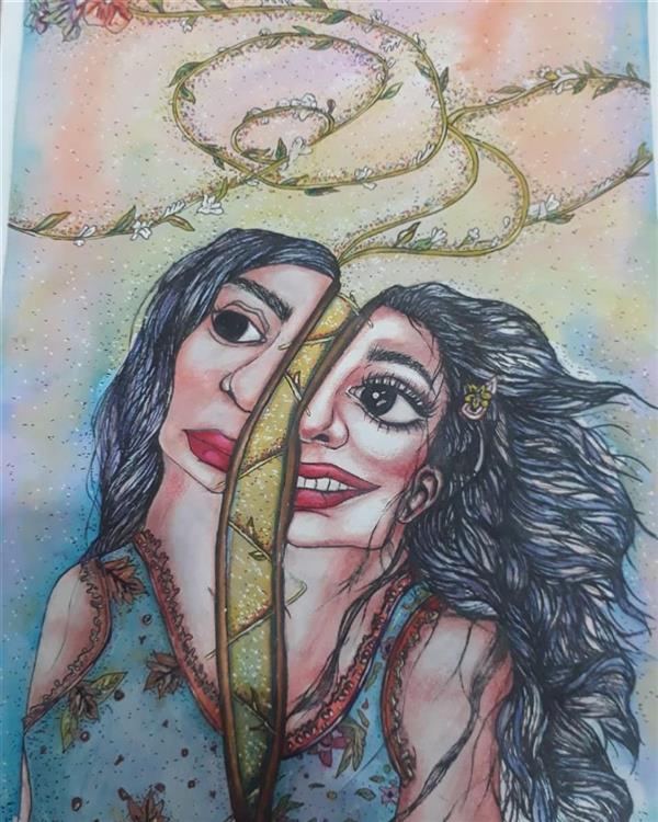 هنر نقاشی و گرافیک محفل نقاشی و گرافیک ارزو بیجانلو صلح و جنگ درون سایز ۵۰×۴۰ mix media