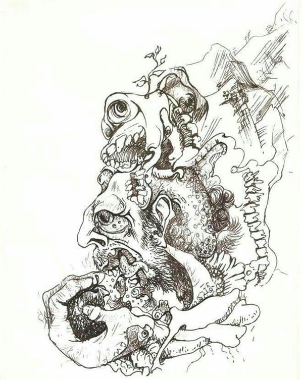 هنر نقاشی و گرافیک محفل نقاشی و گرافیک رویا سلیمی مرد و سیب  روان نویس روی مقوا