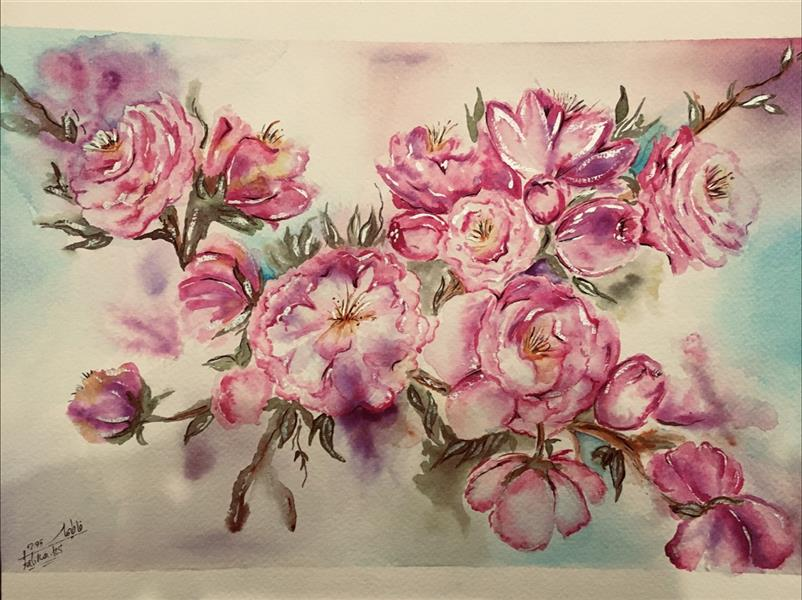 هنر نقاشی و گرافیک محفل نقاشی و گرافیک فاطیما حسین سقا نقاشی شکوفه بهار سایز ۳۰*۴۰ ابرنگ