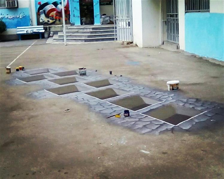 هنر نقاشی و گرافیک محفل نقاشی و گرافیک معصومه برزگرپور کار سه بعدی روی زمین متریال اکرلیک مکان اجرا رشت