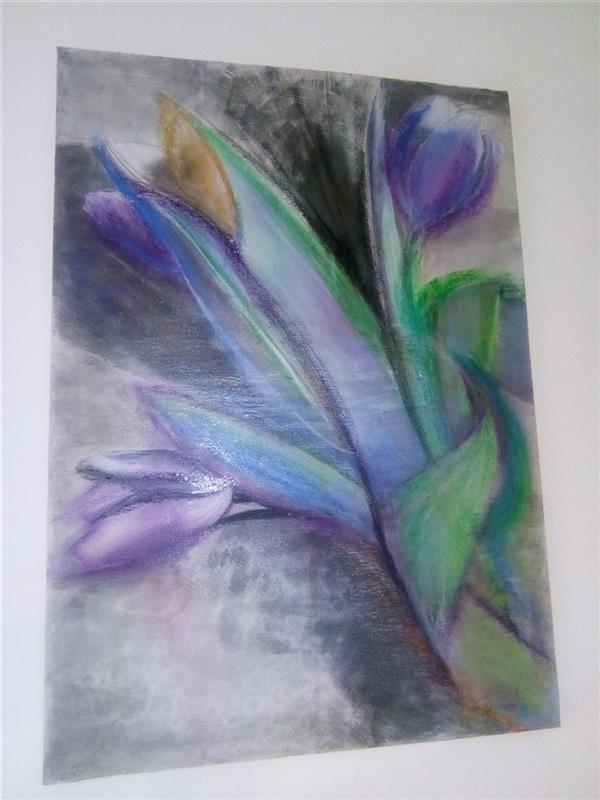 هنر نقاشی و گرافیک محفل نقاشی و گرافیک ندا گودرز نقاشی گل لاله با رنگ آکریلیک و پاستل ترکیبی در ابعاد ۵۰ در ۷۰ سانتیمتر