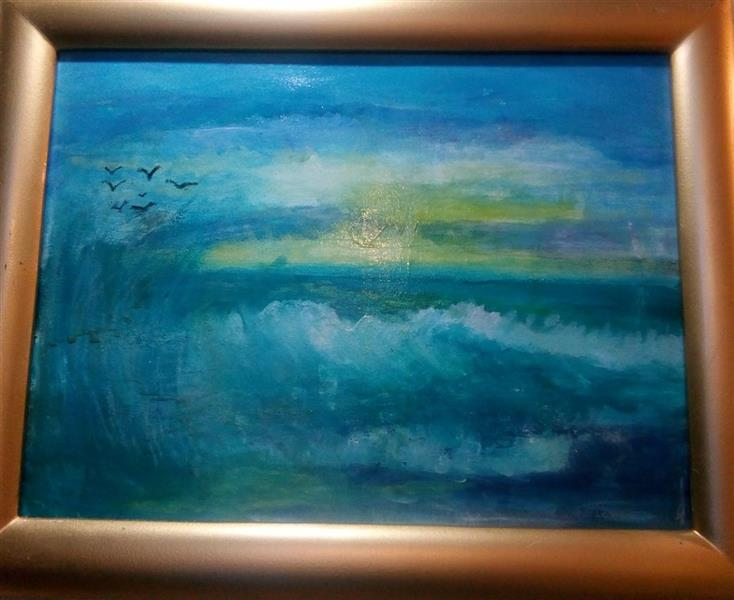 هنر نقاشی و گرافیک محفل نقاشی و گرافیک ندا گودرز تابلو نقاشی موج و دریا با رنگ آکریلیک در ابعاد ۲۰در۳۰ سانتیمتر