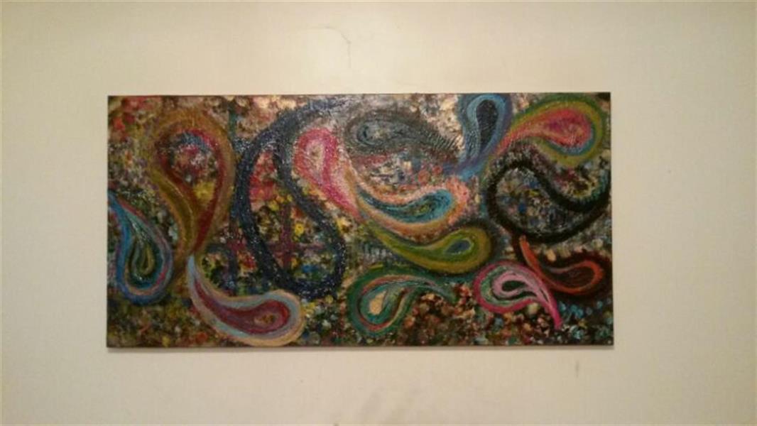 هنر نقاشی و گرافیک محفل نقاشی و گرافیک ندا گودرز نقاشی رنگ روغن برجسته طرح چهل تکه سنتی ایرانی