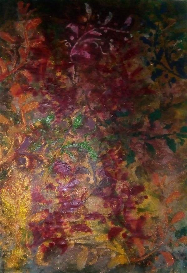 هنر نقاشی و گرافیک محفل نقاشی و گرافیک ندا گودرز نقاشی رنگ روغن و آکریلیک ترکیبی با سبک معماری ایرانی در ابعاد 60*80سانت