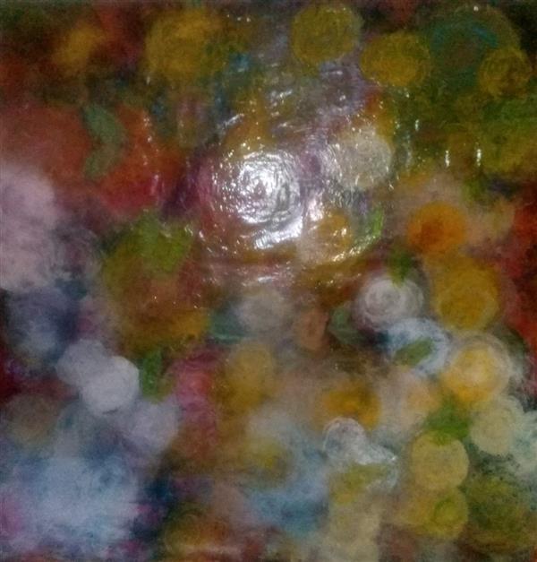 هنر نقاشی و گرافیک محفل نقاشی و گرافیک ندا گودرز نقاشی رنگ روغن از رزهای رنگی و پیچیده درهم  در ابعاد ۸۰×۸۰سانتیمتر