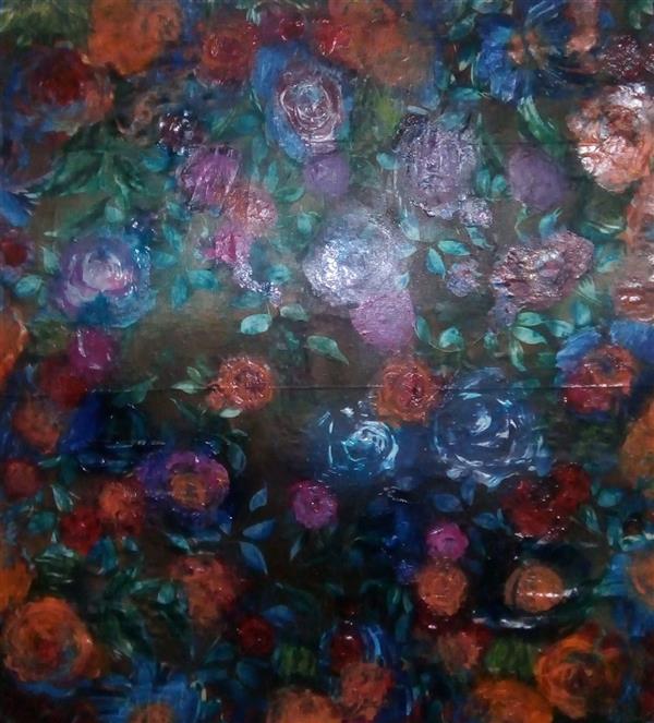 هنر نقاشی و گرافیک محفل نقاشی و گرافیک ندا گودرز نقاشی رنگ روغن برجسته در ابعاد ۶۰ ×۶۰ سانتیمتر