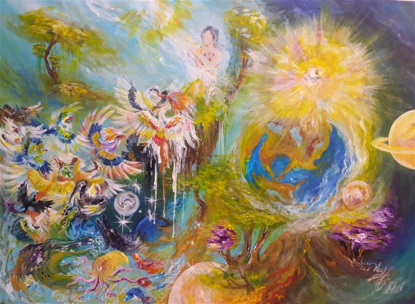 هنر نقاشی و گرافیک محفل نقاشی و گرافیک کمال عبادی موضوع:افرینش بر اساس گفته های ادیان وکتاب مقدس  تکنیک:اکرلیک سبک:نقاشی ایرانی