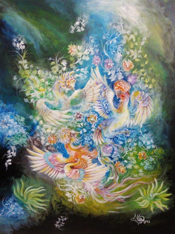 هنر نقاشی و گرافیک محفل نقاشی و گرافیک کمال عبادی ابعاد:60*80 موضوع:رقص سیمرغ سبک:نقاشی ایرانی