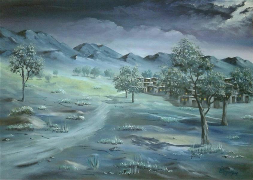 هنر نقاشی و گرافیک محفل نقاشی و گرافیک مهنوش عاقلی رنگ روغن 1382 شب دهکده