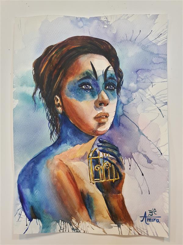 هنر نقاشی و گرافیک محفل نقاشی و گرافیک AmiraAshrafadini Hey #blue_world 💙 New watercolor painting by ; #amiraashrafadini 💝👧🌟 #title ; #blue_bird 🕊 . پ.ن ؛ روح بزرگت را در این چند روز دنیایی ناگزیر در ظرف کوچک جسم ت گنجانیده اند یک روز این #پرنده ی #آبی قفس تنگ و تاریکش را به #مقصد #جهانی دیگر گونه  ترک خواهد کرد تا آن روز #روح ت را #امانتداری خوب باش ... 💙🕉👧💝🌟 . #hindi #panchi nadiya Pawan ke jhonke Koi #sarhad na inhe roke . #english #birds ; rivers & the gusts of wind #no #borders can stop them ...