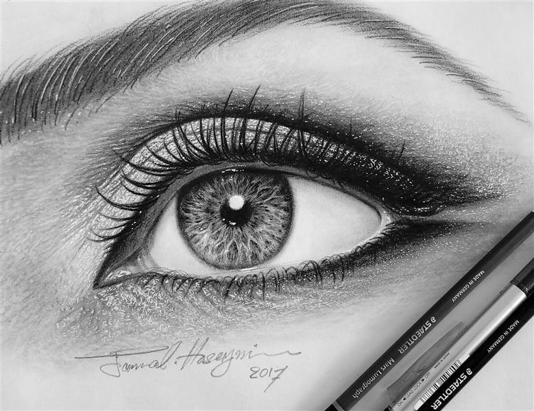هنر نقاشی و گرافیک محفل نقاشی و گرافیک سید جمال حسینی مداد لوموگراف تمرین چشم A4