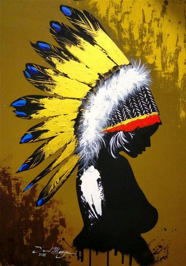 هنر نقاشی و گرافیک محفل نقاشی و گرافیک سید جمال حسینی #نقاشی_مدرن سرخپوست #اکرلیک 50×70