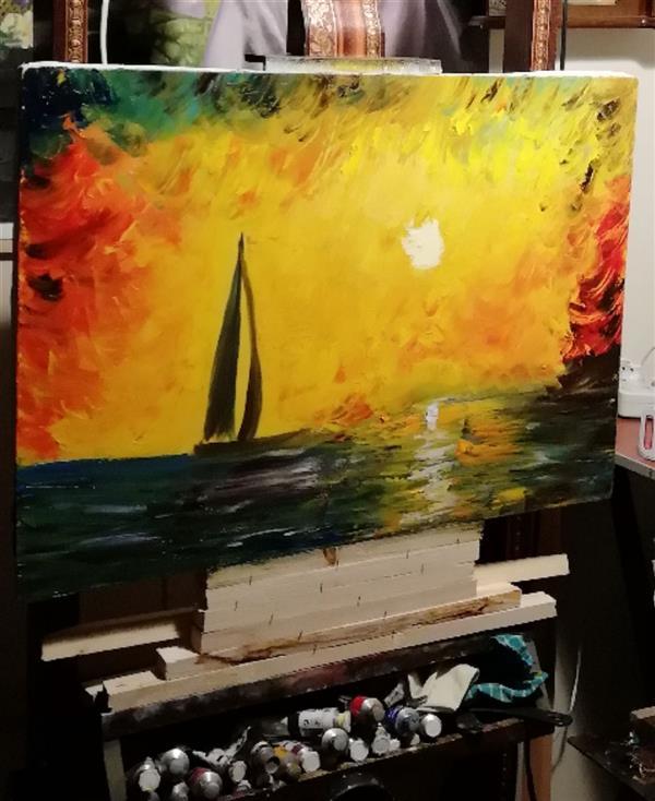 هنر نقاشی و گرافیک محفل نقاشی و گرافیک جمشید چراغیان تکنیک رنگ روغن سبک مدرن اندازه ۵۰/۷۰اثرجمشیدچراغیان
