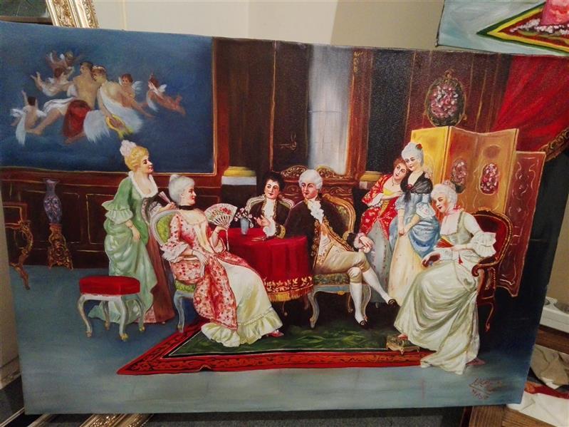 هنر نقاشی و گرافیک محفل نقاشی و گرافیک جمشید چراغیان تکنیک رنگ روغن سبک کلاسیک مدل فرانسوی