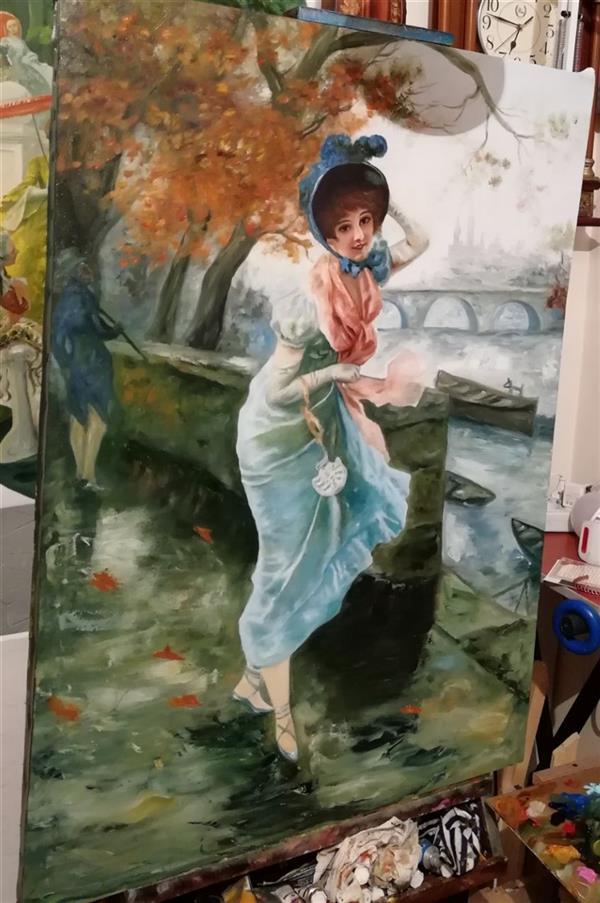 هنر نقاشی و گرافیک محفل نقاشی و گرافیک جمشید چراغیان تکنیک رنگ روغن سبک کلاسیک مدل فرانسوی اندازه ۱۰۰/۷۰قیمت۱۰۰۰۰۰۰نام اثر یک روز پاییزی
