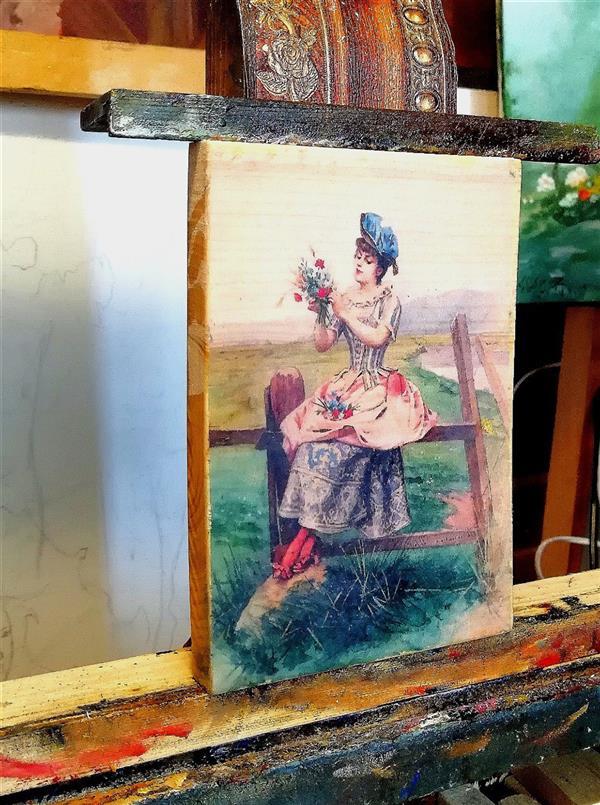 هنر نقاشی و گرافیک محفل نقاشی و گرافیک جمشید چراغیان تکنیک رنگ روغن سبک کلاسیک نقاشی روی چوب اثر جمشید چراغیان
