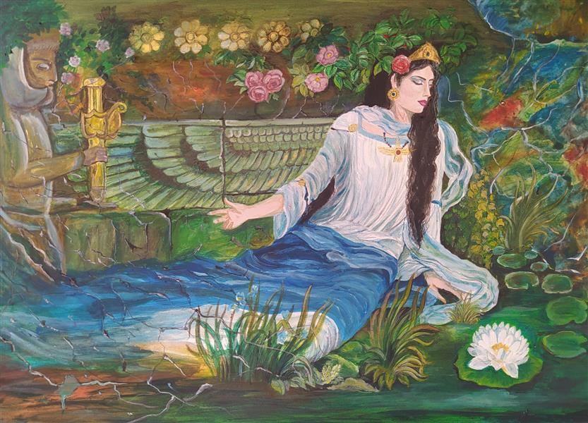 هنر نقاشی و گرافیک محفل نقاشی و گرافیک b negargar تکنیک اکرلیک و آبرنگ ، 1399 ، نام اثر بانوی ایرانی ، ابعاد 40*30 ، بهناز فاضل عیدگاهی