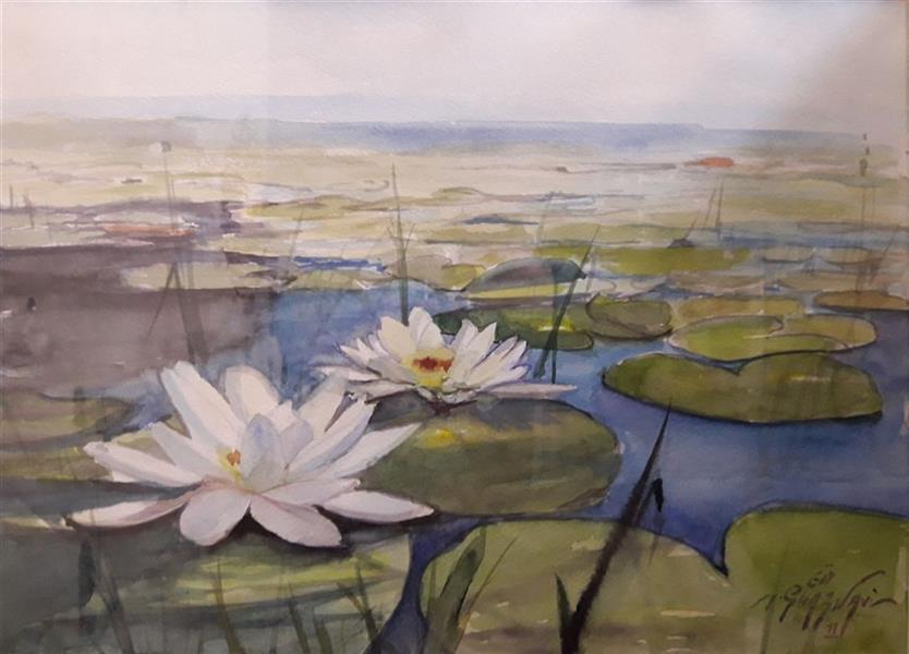 هنر نقاشی و گرافیک محفل نقاشی و گرافیک مجید غزنوی 🔴 #نیلوفر_آبی ۳۷×۲۷ #آبرنگ #نقاش:مجید غزنوی 🔴 #Lotus 37×27cm #Watercolor By:Majid Ghaznavi @majidghaznaviart🔴 @majidghaznavikhatart🔴