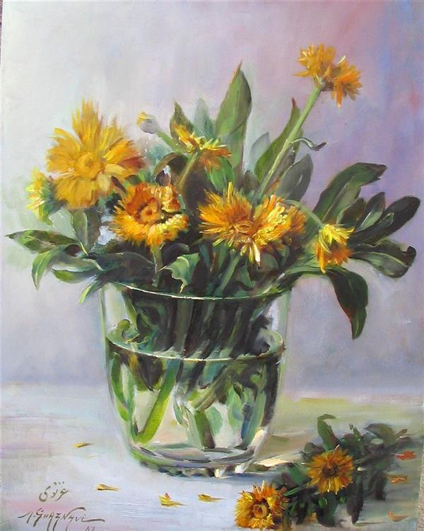 هنر نقاشی و گرافیک محفل نقاشی و گرافیک مجید غزنوی 🔴 #گلهای_مینا ۳۰×۴۰ #رنگ_روغن #نقاش:مجید غزنوی 🔴 #Marguerite_Flowers 30×40cm #oil By:Majid Ghaznavi @majidghaznaviart🔴 @majidghaznavikhtart