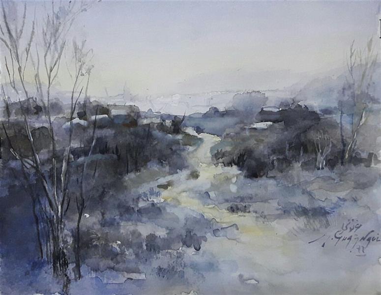 هنر نقاشی و گرافیک محفل نقاشی و گرافیک مجید غزنوی 🔴غروب برفی سوهانک ۲۰×۱۶ #آبرنگ #نقاش  :مجید غزنوی #Sohanak snowy sunset 20×16cm #watercolor By:Majid Ghaznavi @majidghaznaviart🔴 @majixghaznavikhatart🔴