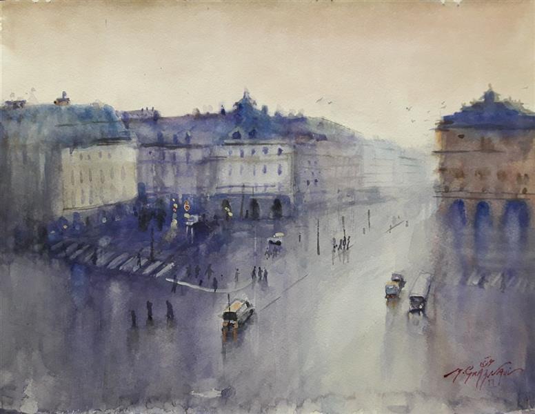 هنر نقاشی و گرافیک محفل نقاشی و گرافیک مجید غزنوی 🔴 #پاریس_در_باران ۳۰×۴۰ #آبرنگ #نقاش:مجید غزنوی #Rainy_Paris 30×40cm #watercolor BY:Majid Ghaznavi @majidghaznaviart🔴 @majidghaznavikhatart🔴