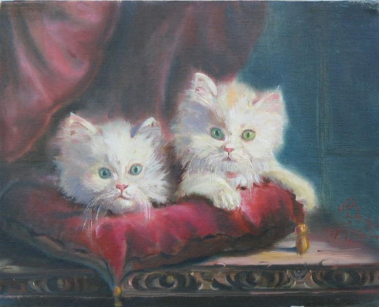 هنر نقاشی و گرافیک محفل نقاشی و گرافیک مجید غزنوی 🔴 #بچه_گربه_ها ۲۴×۳۰ #رنگ_روغن_روی_بوم  #نقاش :مجید غزنوی 🔴 #kittens 24×30cm #oil_on_canvas  #painter :Majid Ghaznavi @majidghaznaviart 🔴 @majidghaznavikhatart 🔴