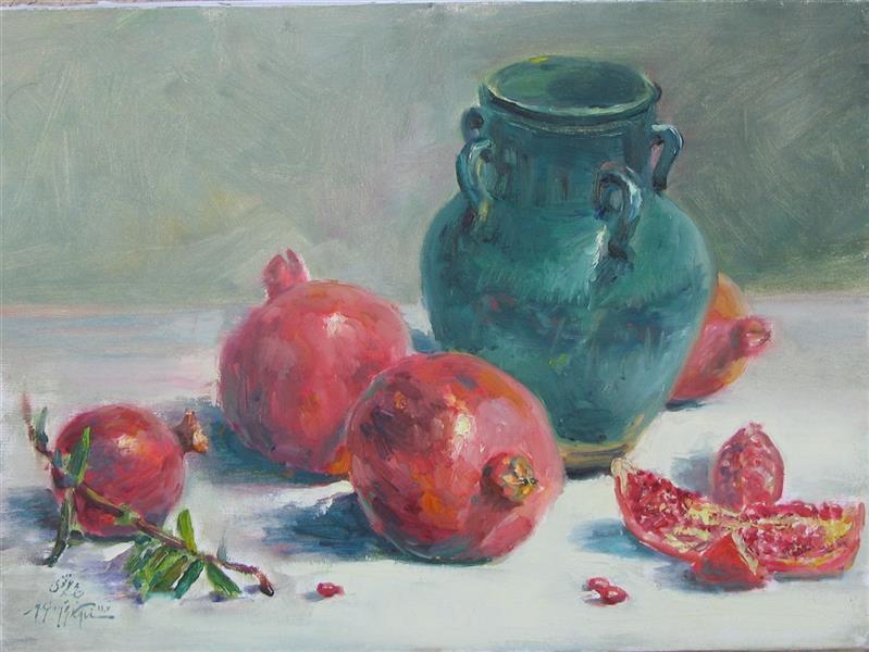 هنر نقاشی و گرافیک محفل نقاشی و گرافیک مجید غزنوی 🔴 #انار و کوزه ۳۰ ×۴۰ #رنگ_روغن  # نقاش: مجید غزنوی 🔴 #Pomegranate and Vase 30×40cm #oil_on_canvas  #painter:Majid Ghaznavi #یلدا