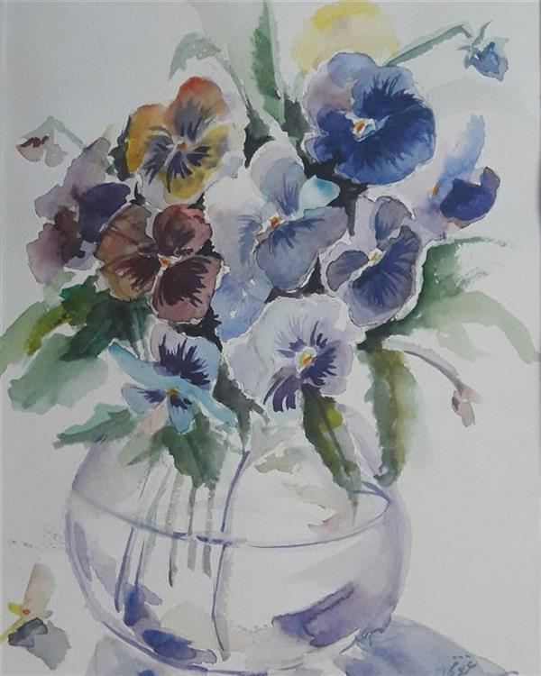 هنر نقاشی و گرافیک محفل نقاشی و گرافیک مجید غزنوی 🔴 #گلهای_بنفشه ۲۳×۳۳ #آبرنگ  #نقاش :مجید غزنوی 🔴 #Violet_flowers 23×33cm #watercolor  By:MajidGhaznavi @majidghaznaviart🔴 @majidghaznavikhatart🔴