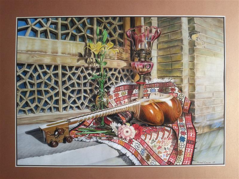 هنر نقاشی و گرافیک محفل نقاشی و گرافیک hamed emami نقاشی طبیعت بیجان سبک واقعگرایانه یا رئالیسم تکنیک مدادرنگ روی مقوای جیر40 در60