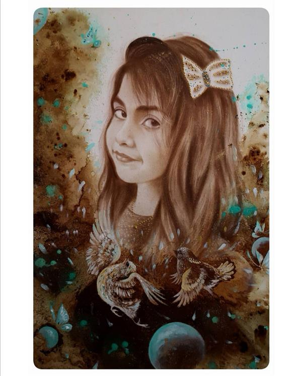 هنر نقاشی و گرافیک محفل نقاشی و گرافیک حسین هلالی #نقاشی#پرتره با #قهوه
