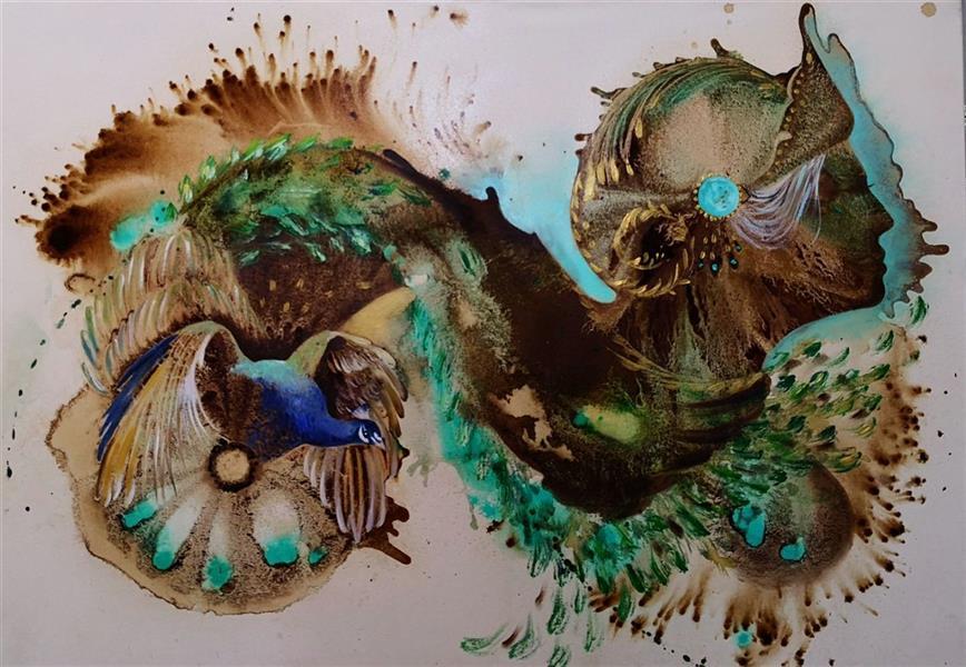 هنر نقاشی و گرافیک محفل نقاشی و گرافیک حسین هلالی نقاشی با #قهوه سایز 70 در 100