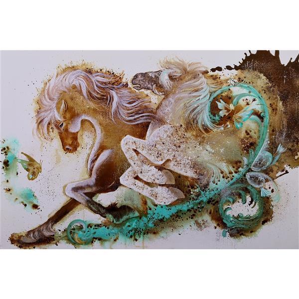 هنر نقاشی و گرافیک محفل نقاشی و گرافیک حسین هلالی #نقاشی با #قهوه و #اکریلیک#رنگ_روغن#اسب#نقاشی_قهوه#طراحی