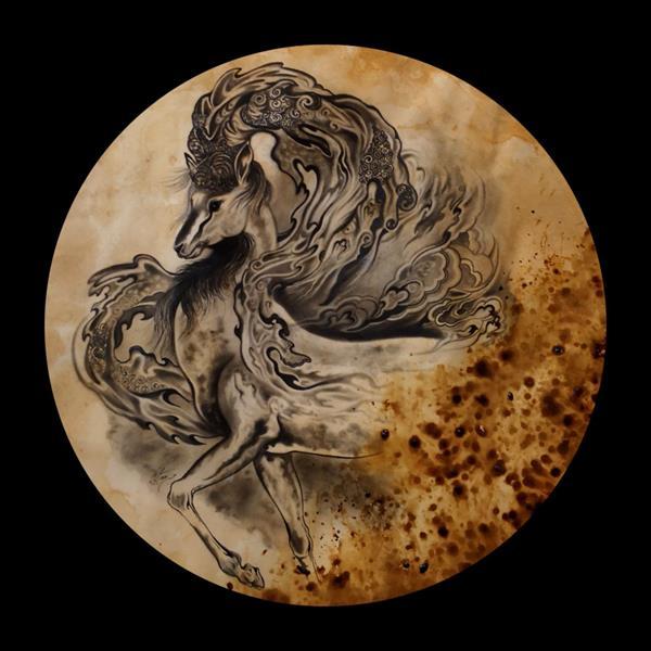 هنر نقاشی و گرافیک محفل نقاشی و گرافیک حسین هلالی تلفیق#سیاه قلم و #قهوه
