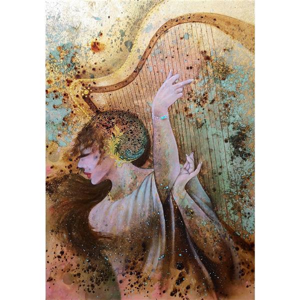 هنر نقاشی و گرافیک محفل نقاشی و گرافیک حسین هلالی #اکریلیک و #رنگ_روغن #قهوه روی ورق طلا#طراحی#نقاشی#رنگ#زن#دختر#oilpainting #acrylic #girl#women #color