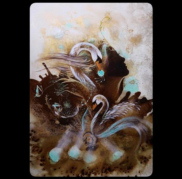 هنر نقاشی و گرافیک محفل نقاشی و گرافیک حسین هلالی #نقاشی #دختر با #قهوه #سایز 50 در 70