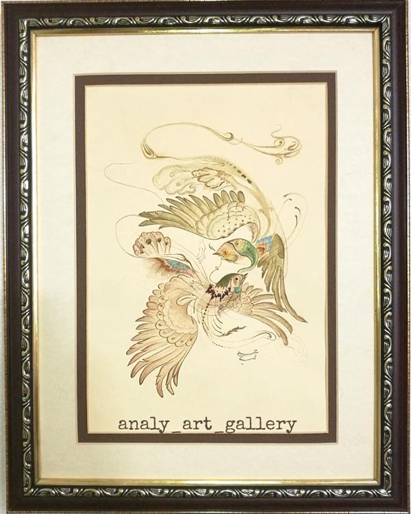هنر نقاشی و گرافیک محفل نقاشی و گرافیک آرمیتا حسنی تابلو #گل و مرغ سایز a3 ساخت مقوای عهد باستان