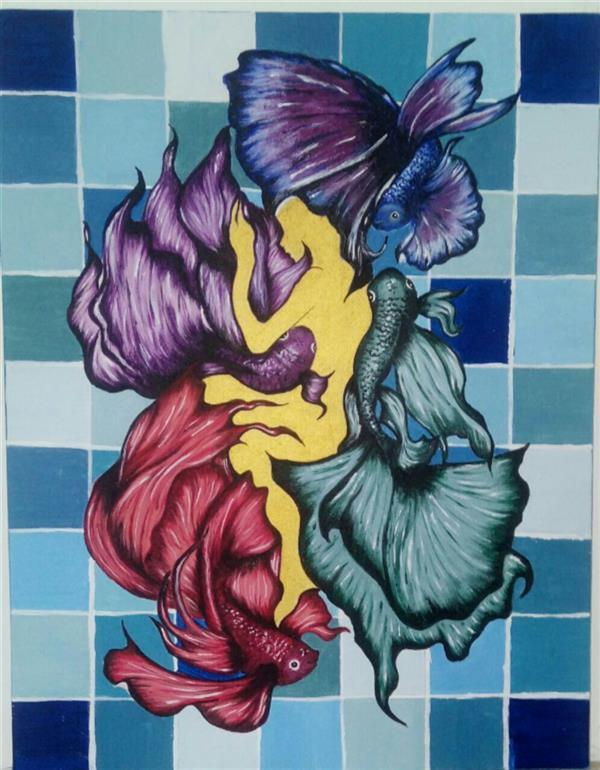 هنر نقاشی و گرافیک محفل نقاشی و گرافیک الهه خسروی پور #اکرولیک#بوم #حوض و ماهی#تنهایی سایز45×35