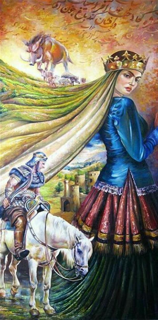 هنر نقاشی و گرافیک محفل نقاشی و گرافیک سیده معصومه حسینی #تصویرسازی#شاهنامه داستان بیژن و منیژه با ابعاد 1در2 متر #رنگ_روغن #یلدا