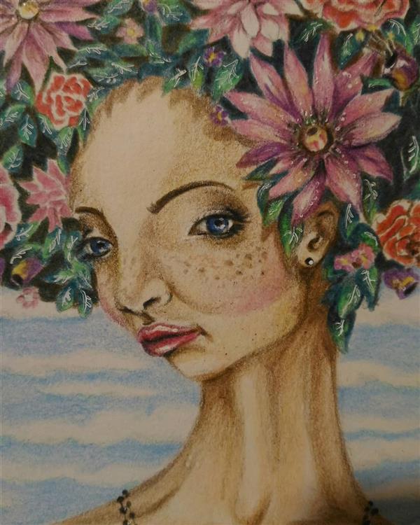 هنر نقاشی و گرافیک محفل نقاشی و گرافیک فاطمه نهاوندی flower woman