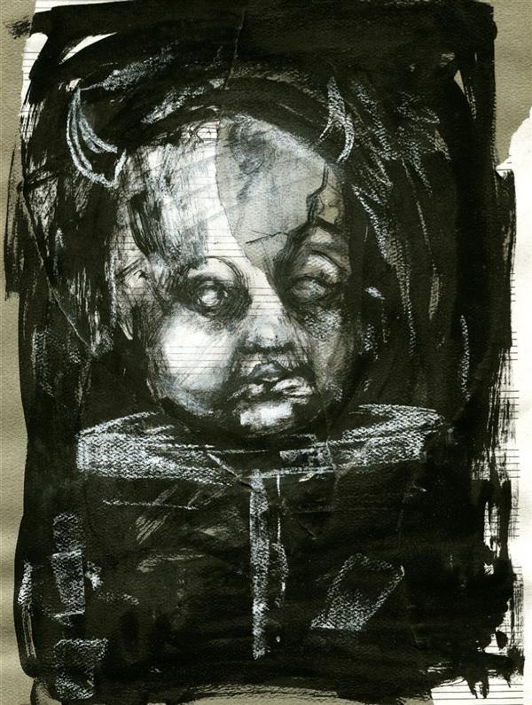 هنر نقاشی و گرافیک محفل نقاشی و گرافیک 2nya ۱۷.۵x۲۵ راپید و مرکب روی مقوا  نام اثر: عروسک ها