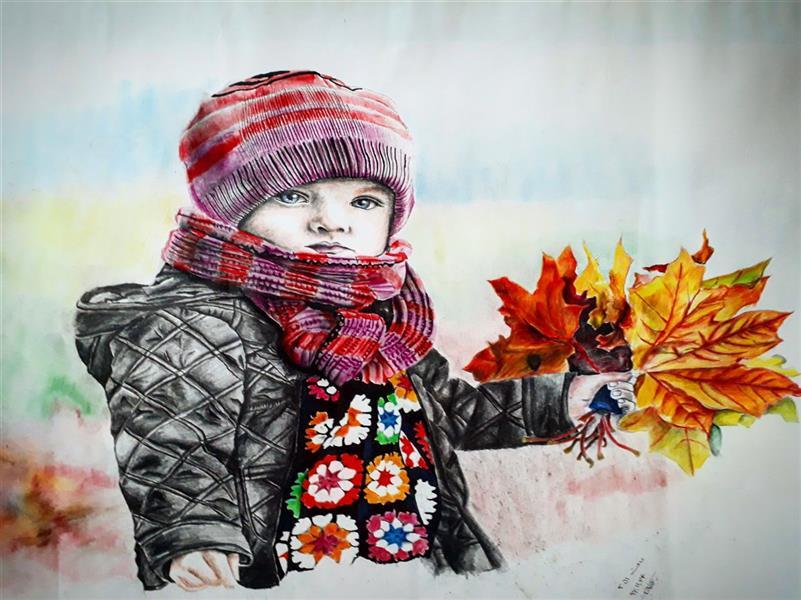 هنر نقاشی و گرافیک محفل نقاشی و گرافیک محمدعرفانیان صفار رز۹ #دختروپاییز
