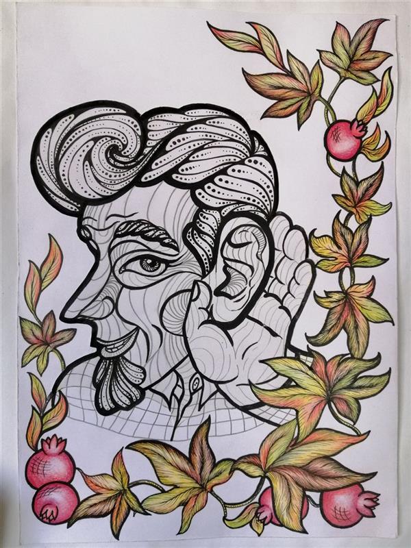 هنر نقاشی و گرافیک محفل نقاشی و گرافیک منصوره خاوری خراسانی #طراحی_جلد_مجله #فالگوش