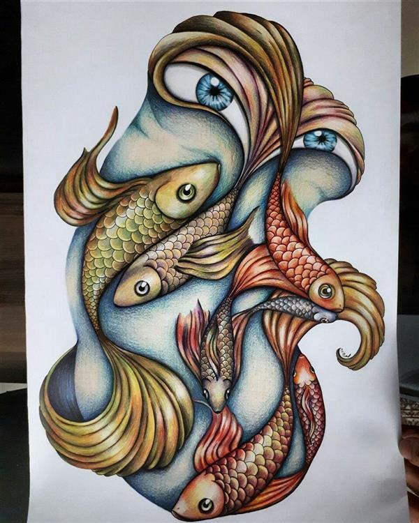 هنر نقاشی و گرافیک محفل نقاشی و گرافیک منصوره خاوری خراسانی نام اثر:برکه و ماهی ها تکنیک:مداد رنگی #ماهی#برکه#تصویرسازی A3
