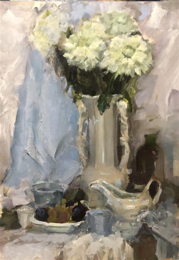 هنر نقاشی و گرافیک محفل نقاشی و گرافیک Ann Peshkova #oil #wood #stillife #realism #academism #flowers #white #classic #acrlylic #oilpainting  oil on primed cardboard
