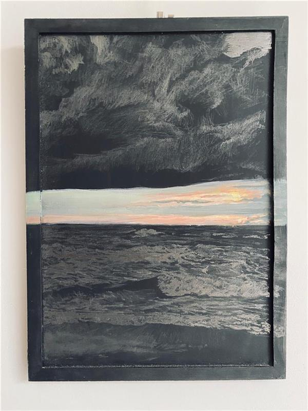 هنر نقاشی و گرافیک محفل نقاشی و گرافیک Jellie Goedhart A sunset on the Dutch beach of Den Helder. Made with acryl paint and pencil on black paint