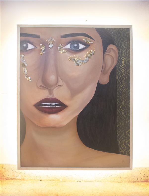 هنر نقاشی و گرافیک محفل نقاشی و گرافیک Dipa Dey Alisha acrylic, metal staff,lights style inspired from african portrait subject portrait