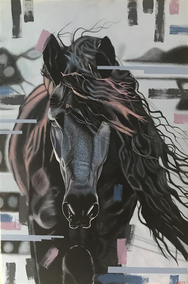 هنر نقاشی و گرافیک محفل نقاشی و گرافیک Eze daniel Acrylic on canvas #Animal #abstract #horse #realistic #nature #colourful