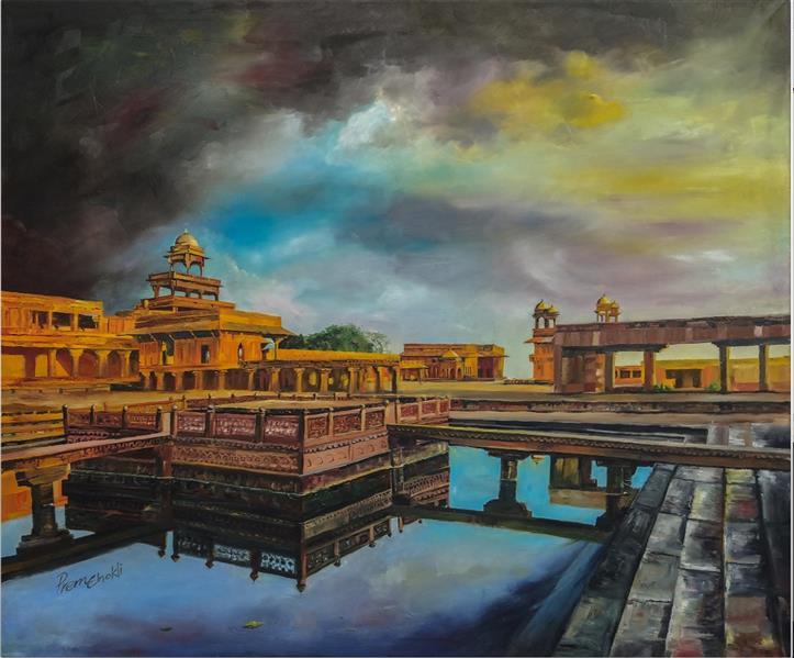 هنر نقاشی و گرافیک محفل نقاشی و گرافیک Preman K-P Oil painting on Canvas Pancha mahal (The city of victory)
