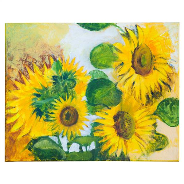 هنر نقاشی و گرافیک محفل نقاشی و گرافیک Oksana The sunflowers are one of the most popular motifs for photographers and painters, of course I couldn't resist capturing these cheerful flowers to canvas.
